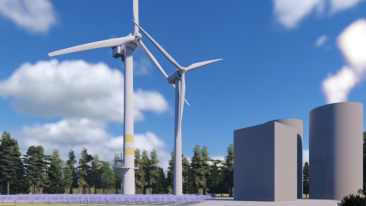 Windkraftanlagen mit verschiedenen Höhen kombiniert mit einer Photovoltaik-Anlage als Kraftwerksblock des Ökologischen Kraftwerks